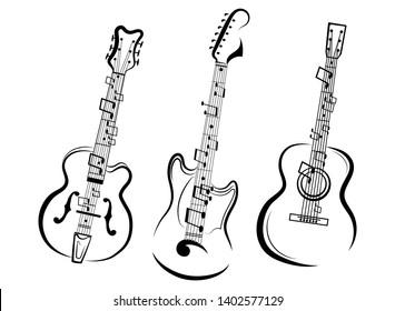 Set of stylized guitars. Collection of electric guitars with notes. Black and white illustration of musical instruments. Linear art. Tattoo.