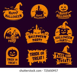 Set of stylized Halloween logos, badges, labels isolated on dark background. Happy Halloween traditional decorative elements. Applicable for greeting cards,invitations, posters, party flyers.