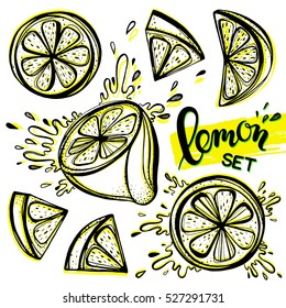 Set of stylized hand drawn lemons and water splashes.Perfect for restaurant menu backdrop, healthy food concept, juice bar,for cards and prints.Vector illustration with lemons and limes.