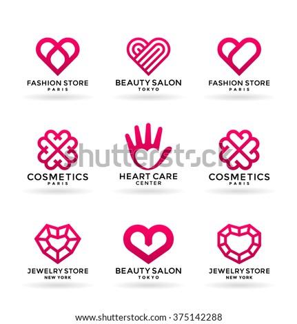 Set Stylized Heart Symbols Logo Design Stock Vector Royalty Free