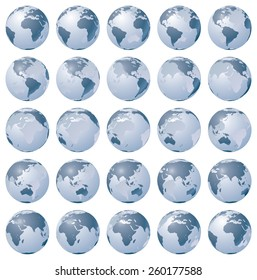 Set of stylized images of the Earth in different rotation phases. Vector illustration