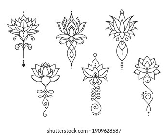 Set of stylized lotus mandalas flower. Collection of indian signs for meditation lotus of the moon. Symbols for mehendi. Vector illustration isolated on white background.