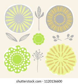 Set of stylized naive hand drawn flowers. Vector ilustration