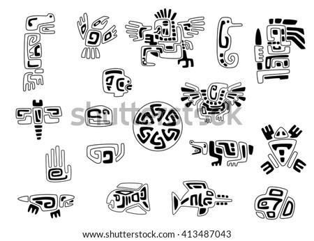 Set Stylized Native American Symbols Stock Vector Royalty Free