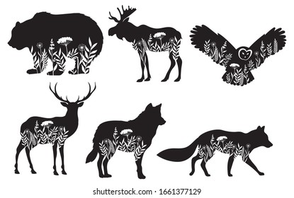 Set of stylized nature animals. Collection of animal silhouettes with a flowers. Logos of wild animals. Tattoo. Vector illustration for children.