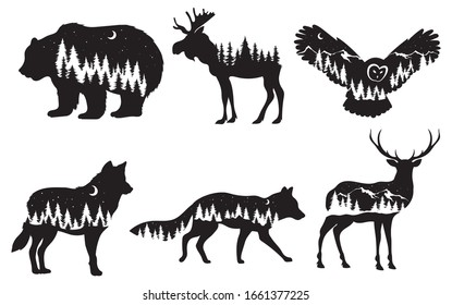 Set of stylized nature animals. Collection of animal silhouettes with a forest. Logos of wild animals. Tattoo. Vector illustration for children.