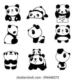 set of stylized pandas in different positions