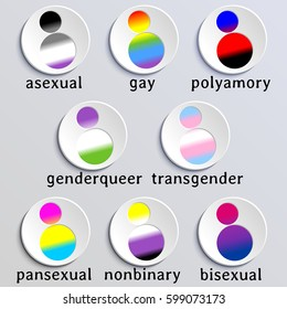 Set of stylized people icons with queer flag colors (eps10);