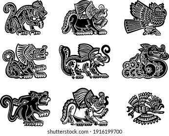Set of stylized petroglyph style drawings of jaguar, lion, snake. American native tribal style, aztec or maya art. Black and white, isolated for logo design. Vector stock illustration.