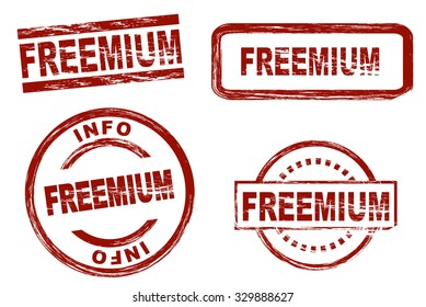 Set of stylized red ink stamps showing the term freemium. All on white background.