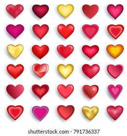 Set of stylized red, pink, golden 3d hearts for Valentines Day, wedding, birthday isolated on white background. Design elements, icons for holiday. Vector illustration.