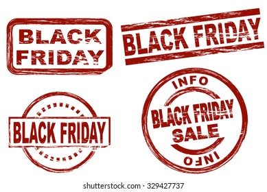 Set of stylized red stamps showing the term black friday. All on white background.