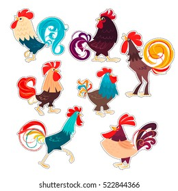 Set of stylized roosters. Vector illustration of roosters, symbol of 2017 on the Chinese calendar. Stickers for New Year's and Christmas design. Set of cartoon characters.