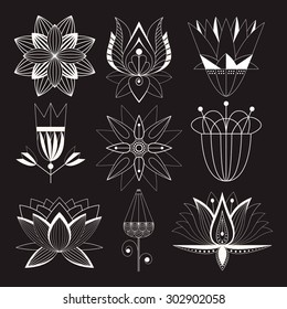set of stylized silhouettes of flowers without internal fill patterns for logos, symbol of the plants, ornamental lily