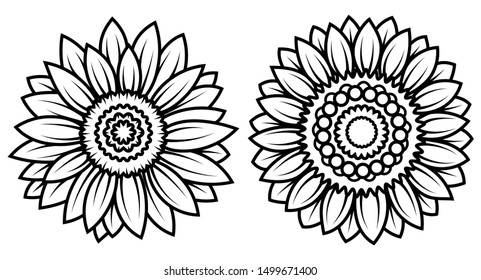 Set of stylized sunflowers. Collection of flowers in the form of a mandala. Black and white illusion. Tattoo.