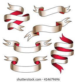 Set of stylized tattoo ribbons without text. Template for your design