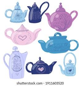 set of stylized teapots in delicate purple colors