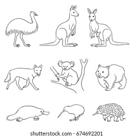 Set of stylized vector Australian animals in contours. EPS8