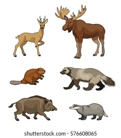 Set of stylized vector forest animals. EPS8