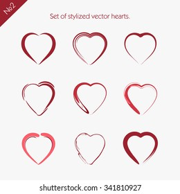 Set of stylized vector hearts. 2