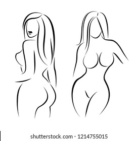 Set of stylized woman body silhouettes. Graceful girls drawn by line, vector illustration.