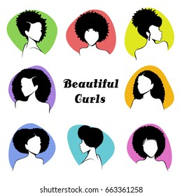 Set of stylized women's busts with curly hair  (eps10);