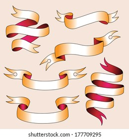Set of stylizing tattoo ribbons template for your design