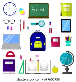 A set of subjects for education. Flat design, vector illustration.