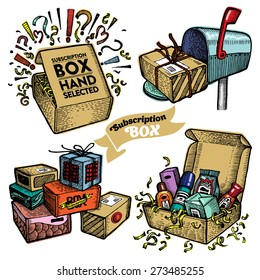 Set of subscription boxes. Vector.