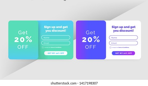 Set of subscription pop up forms. Purple green blue gradient. Registration and login. Professional web design, full elements. User-friendly. Vector.