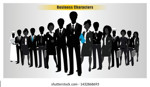 Set of Successful business people