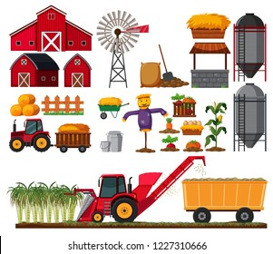 Set of sugar cane farm element illustration
