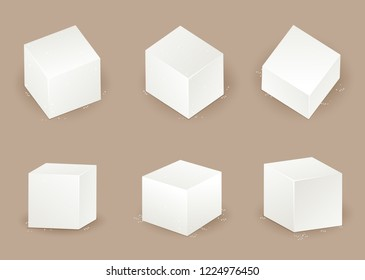 Set of sugar cube in different angle illustration