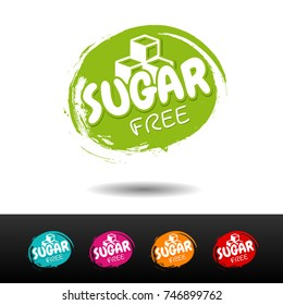 Set of Sugar free badges. Vector hand drawn labels.