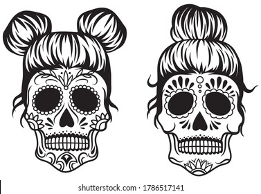 Set of sugar skull. Collection of female sugar skull with hairslyle for Day of dead. Symbol of the Mexican holiday. Vector illustration of women's head with ethnic decor.  Tattoo.