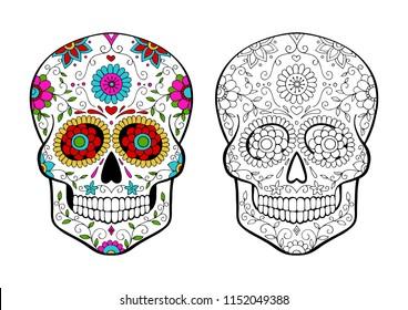 set of sugar skulls coloring page