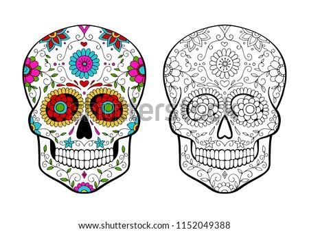 Set Sugar Skulls Coloring Page Stock Vector Royalty Free