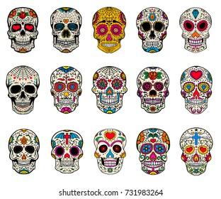 Set of sugar skulls illustrations. Dead day. Dia de los muertos. Design elements for poster, card, flyer, banner. Vector illustration