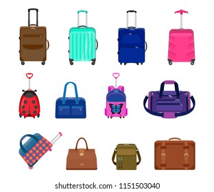 Set of suitcases, backpacks and bags. Vector collection of luggage isolated. Travel suitcases with wheels and without. Vintage suitcase, valise, bags, modern suitcases with a handle for trip.