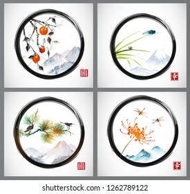 Set of sumi-e paintings in enso zen circle. Traditional Japanese ink wash painting sumi-e: date plum fruits, cicada on grass, birds and flowers. Hieroglyph - happiness.