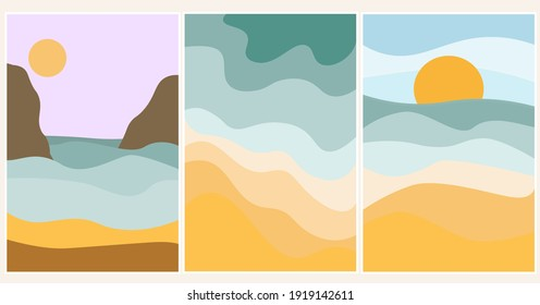 Set of summer abstract content modern landscape poster illustration, background in yellow and blue colors. Sandy beach, mountains, beach on the sea, ocean. Vector graphics
