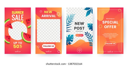 Set of summer banner for social media stories. Bright summer backgrounds with watermelon, tropical leaves. Story concept. Product catalog, discount voucher, advertising. Vector eps 10
