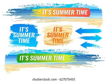 Set. Summer banner, tropical beach, color frame