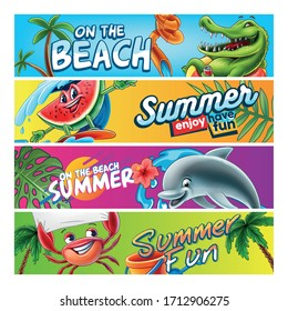set of summer banners with cartoon characters
