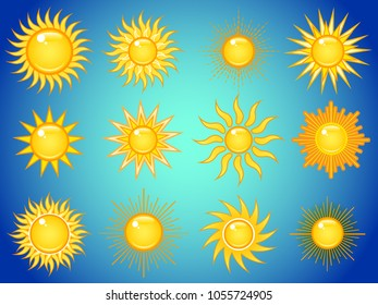 Set of summer bright shining sun symbols in the blue sky. Icon vector collection.