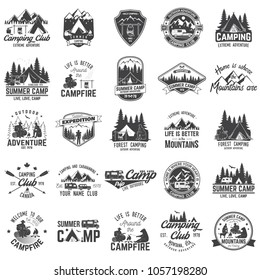 Set of Summer camp badges with design element. Vector. Concept for shirt or print, stamp or tee. Vintage design with rv trailer, camping tent, campfire, bear, man with guitar and forest silhouette.