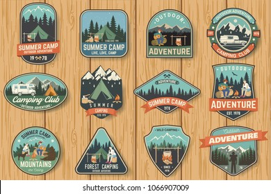 Set of Summer camp badges on the wood board. Vector. Concept for shirt , print, stamp, travel badges or tee. Design with rv trailer, camping tent, campfire, pot on the fire, axe and forest silhouette