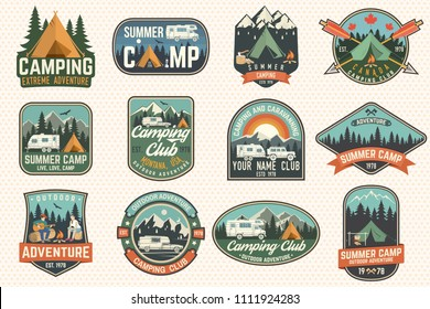 Set of Summer camp badges. Vector. Concept for shirt or logo, print, stamp, patch or tee. Vintage typography design with rv trailer, camping tent, campfire, girl, man with guitar and forest silhouette
