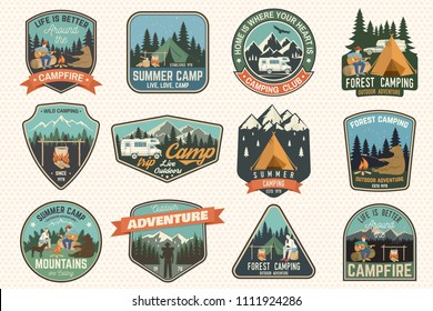 Set of Summer camp badges. Vector. Concept for shirt or logo, print, stamp, patch or tee. Vintage typography design with rv trailer, camping tent, campfire, bear, man with guitar and forest silhouette
