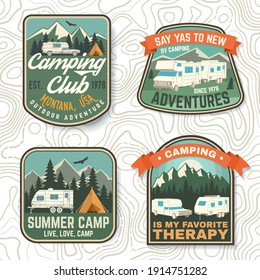 Set of Summer camp patches. Vector. Concept for shirt or logo, print, stamp, patch or tee. Vintage typography design with rv trailer, camping tent, forest, mountain silhouette